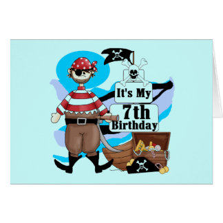 Pirate 7th Birthday Tshirts and Gifts Greeting Cards