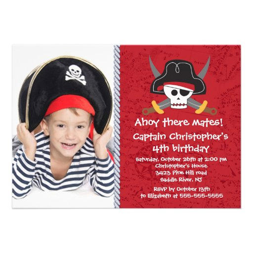 Pirate Ahoy Mates Boy Photo Birthday Party Custom Announcements