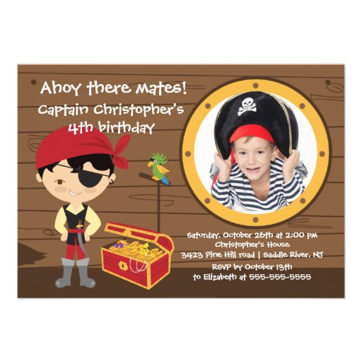 Pirate Ahoy Mates Boy Photo Birthday Party Personalized Announcements