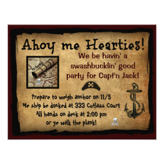 Pirate Ahoy Me Hearties Party Invites