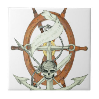 Pirate Anchor and Steering Wheel Small Square Tile