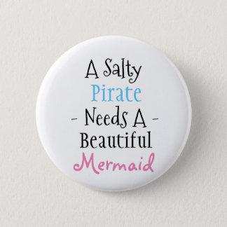 Pirate and Mermaid 6 Cm Round Badge
