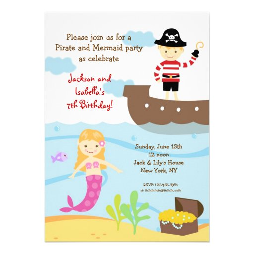 Pirate and Mermaid Birthday Party Invitations