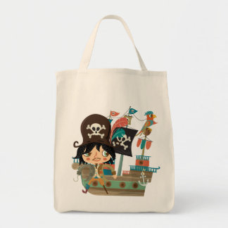 Pirate and Pirate Ship Grocery Tote Bag
