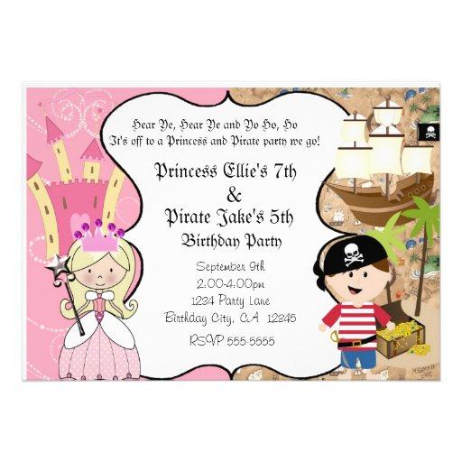 Pirate and Princess Birthay Party Invitation Personalized Announcement