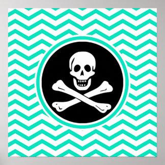 Pirate Aqua Green Chevron Posters