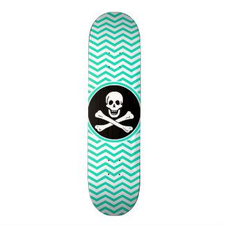 Pirate Aqua Green Chevron Skate Deck