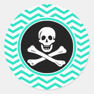 Pirate Aqua Green Chevron Round Stickers
