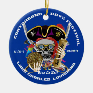 Pirate Auto Dual Logo Bicentennial  Pls View Notes Double-Sided Ceramic Round Christmas Ornament