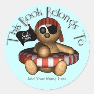 Pirate Bear Bookplate Round Sticker