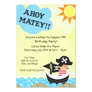 "Pirate Birthday Invites 5"" X 7"" Invitation Card"