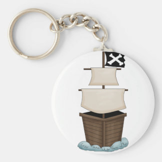 Pirate Birthday Party Basic Round Button Key Ring