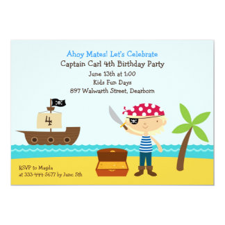 "Pirate Birthday Party Flat Invitation 5"" X 7"" Invitation Card"