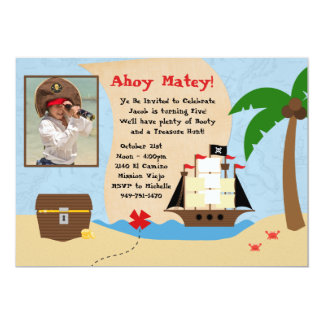 "Pirate Birthday Party Invitation 5"" X 7"" Invitation Card"