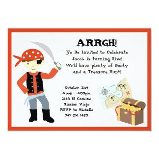 "Pirate Birthday Party Invitation 5"" X 7"" Invitation Card"