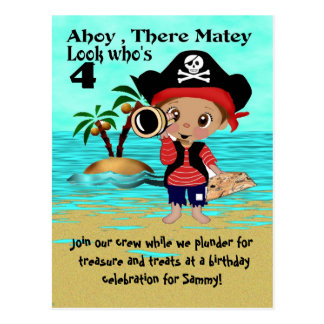 Pirate Birthday Party Invitation Postcard