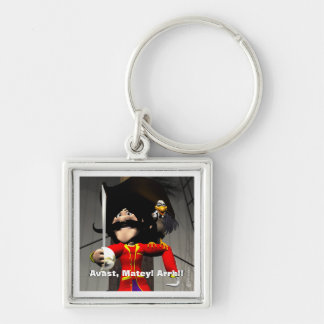 Pirate Birthday Silver-Colored Square Key Ring