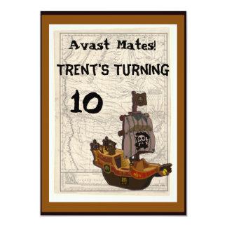 Pirate Boat and Map Birthday 13 Cm X 18 Cm Invitation Card