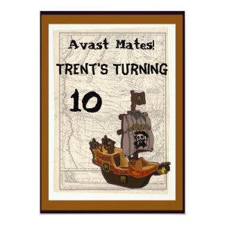 Pirate Boat and Map Birthday Personalized Announcements