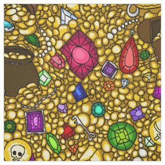 Pirate booty treasure & jewels illustration fabric