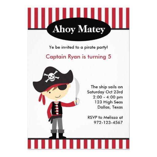 Pirate Boy BIrthday Invitations Personalized Invite