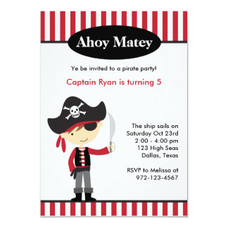 Pirate Boy BIrthday Invitations