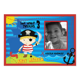 Pirate Boy Birthday Party Invitation, Ahoy Mateys! Card