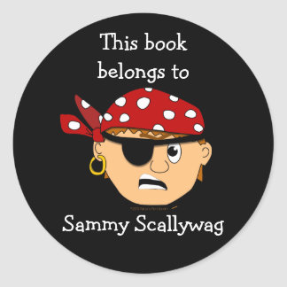 Pirate Boy Custom Bookplate Template for Kids Classic Round Sticker