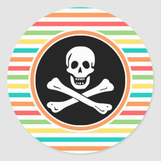 Pirate Bright Rainbow Stripes Round Stickers