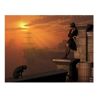 Pirate Captain at Sunset Postcard