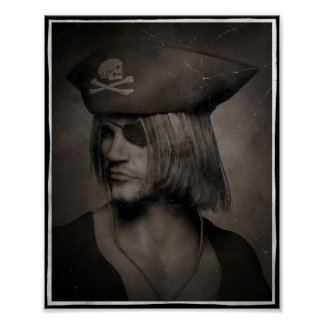 Pirate Captain Portrait - Antique Effect Poster