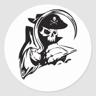 Pirate Captain Skeleton Hook Pirate Theme B-Day Classic Round Sticker