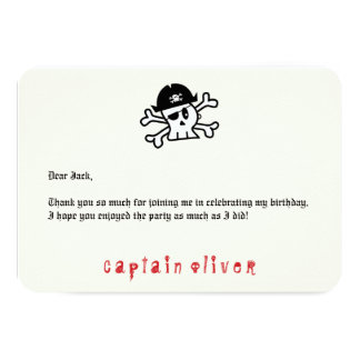 Pirate Captain Skull Kids Birthday Thank You Card 9 Cm X 13 Cm Invitation Card