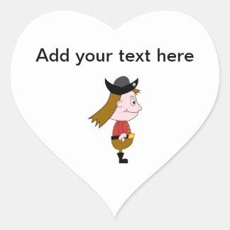 Pirate Cartoon Character. Heart Sticker