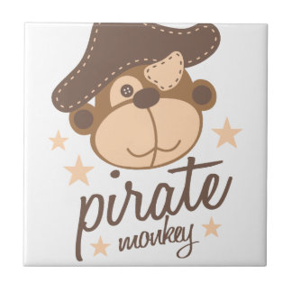 Pirate cartoon cool small square tile