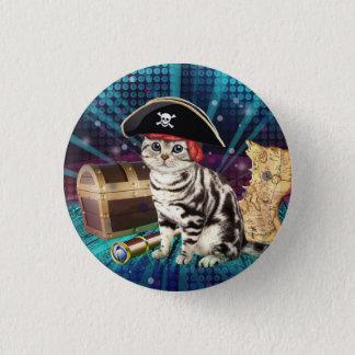 pirate cat 3 cm round badge