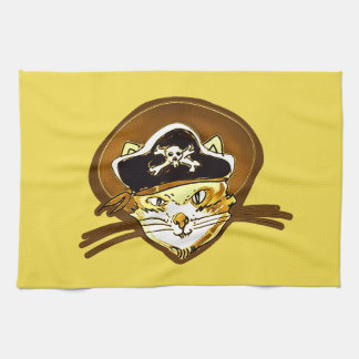 pirate cat cartoon style funny illustration tea towel
