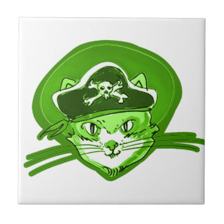 pirate cat cartoon style small square tile