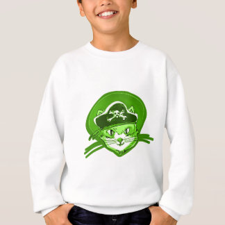 pirate cat cartoon style sweatshirt