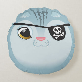 Pirate Cat Pillow! Round Cushion