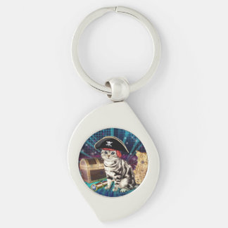 pirate cat Silver-Colored swirl key ring