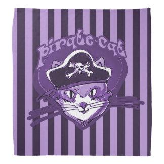 pirate cat sweet cartoon purple tint stripes bandana