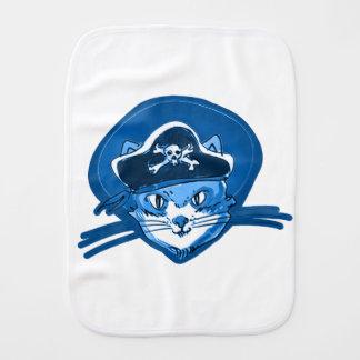 pirate cat sweet kitty blue tint cartoon baby burp cloth
