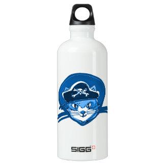 pirate cat sweet kitty blue tint cartoon water bottle