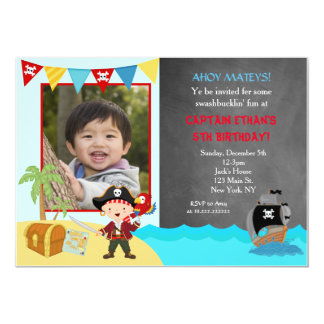 Pirate Chalkboard Birthday Invitations