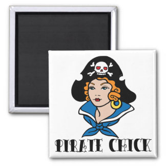 Pirate Chick Tattoo Square Magnet
