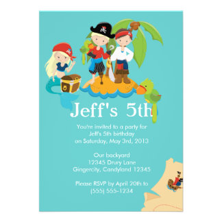 Pirate Children s Birthday Party Invitation Custom Announcement