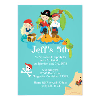 Pirate Children s Birthday Party Invitation Card