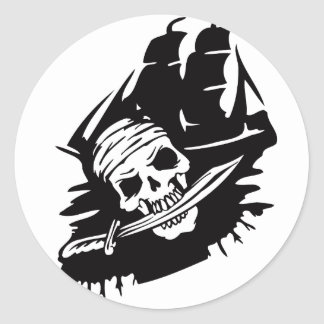 Pirate Clipper Ship Sword Skeleton Pirates Theme Classic Round Sticker