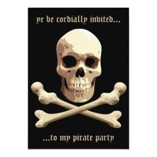 Pirate Club - Skull and Crossbones 13 Cm X 18 Cm Invitation Card